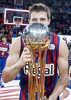 FC Barcelona Regal's Xabi Rabaseda celebrates the victory in the Spanish Basketball King's Cup Final match.February 07,2013. (ALTERPHOTOS/Acero)