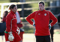 COLLEGE PARK, MARYLAND - April 03, 2013:  Chantel Jones (18) of The Washington Spirit with goalie coach Lloyd Yaxley before the game against the University of Maryland women's soccer team in a NWSL (National Women's Soccer League) pre season exhibition game at Ludwig Field in College Park Maryland on April 03. Maryland won 2-0.