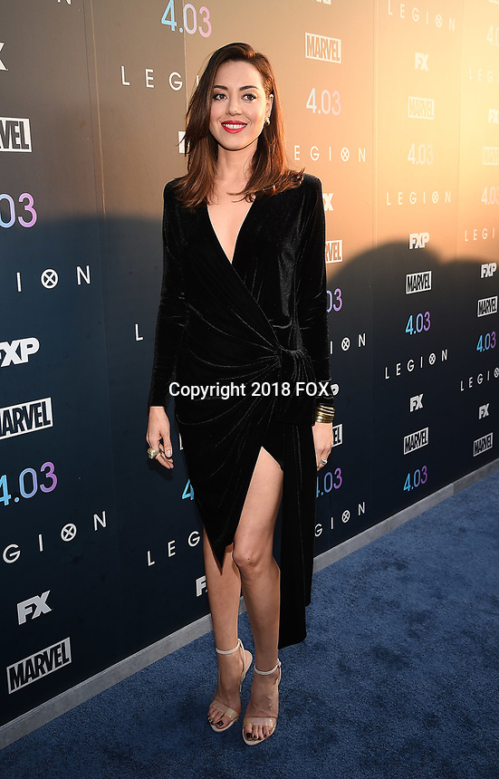 "LOS ANGELES, CA - APRIL 2: Aubrey Plaza attends the season two premiere of FX's ""Legion"" at the DGA Theater on April 2, 2018 in Los Angeles, California. (Photo by Frank Micelotta/FX/PictureGroup)"