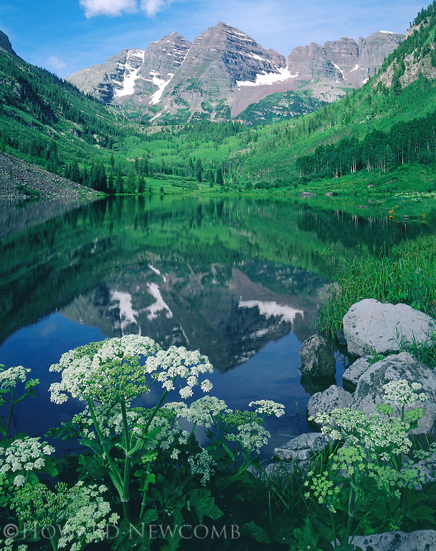 The Maroon Bells, near Aspen, Colorado, are reflected in Maroon Lake, with summer wildflowers framing the peaks.