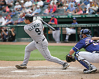 Seattle Mariners C Jeff Clement doubles against the Texas Rangers on May 14th, 2008 at Texas Rangers Ball Park. Photo by Andrew Woolley / Four Seam Images.