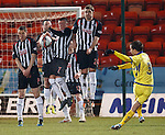 Garry Hay gets the ball up and over the Pars wall but Chris Smith saves