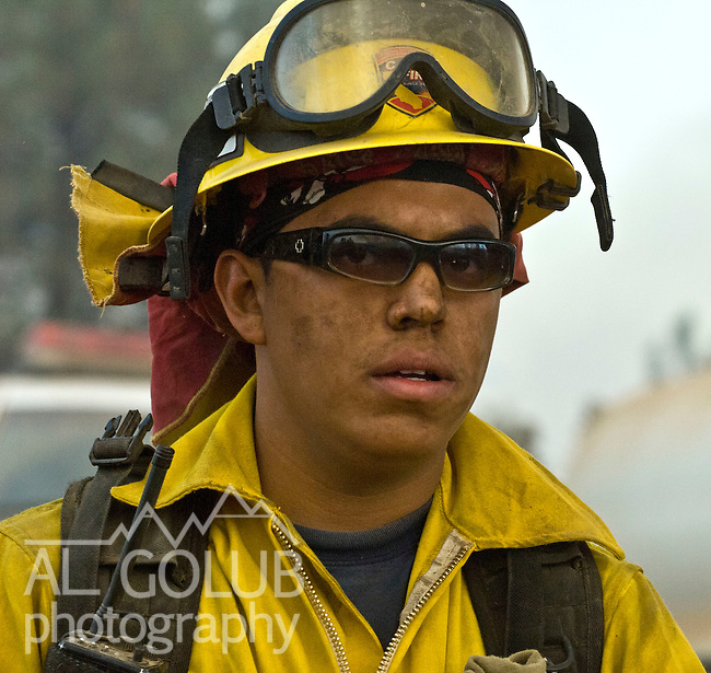 Greeley Hill, California-- July 30, 2008-Telegraph Fire-Wildfires Threaten Yosemite National Park.San Bernardino Firefighter,  Division L is on the leading edge of the fire and is threatening Greeley Hill..Photo by Al GOLUB/Golub Photography
