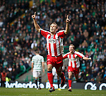 An emotional Liam Kelly looks up to the sky as he celebrates after scoring for Kilmarnock