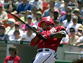 Washington, D.C. - June 18, 2006 --  Washington Nationals right fielder Jose Guillen (6) breaks his bat in the fourth inning against the New York Yankees at RFK Stadium in Washington, D.C. on June 18, 2006. The Nationals won the game 3 - 2 on a walk-off home run by Ryan Zimmerman.<br /> Credit: Ron Sachs / CNP