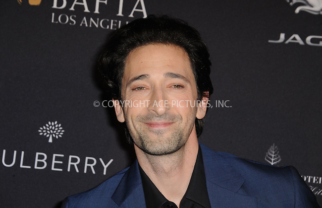 WWW.ACEPIXS.COM<br /> <br /> January 10 2015, LA<br /> <br /> Adrien Brody attending the 2015 BAFTA Tea Party at The Four Seasons Hotel on January 10, 2015 in Beverly Hills, California.<br /> <br /> By Line: Peter West/ACE Pictures<br /> <br /> <br /> ACE Pictures, Inc.<br /> tel: 646 769 0430<br /> Email: info@acepixs.com<br /> www.acepixs.com