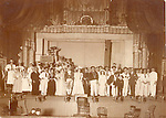 Frederick Stone print. Pinafore Company 1892, Mr. Eaton directing. City Hall, Benefit American Band.<br />#1 Mr. Eaton, director; #2 George Boyd-Ralph; #3 Ed. Beach-Sir Joseph; #4Miss Wagner; #5 Bennie Bronsom-Boatswain; #6-Barber-Dick Deadeye; #7 Mid Parson- sailor; #8 Mr. Tracy-stage mgr.
