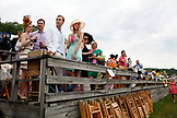 USA, Tennessee, Nashville, Iroquois Steeplechase, spectators in the grandstand wait for the start of the second race