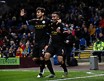 Gabriel Jesus of Manchester City celebrates with David Silva of Manchester City during the Premier League match at Turf Moor, Burnley. Picture date: 3rd December 2019. Picture credit should read: Simon Bellis/Sportimage