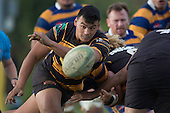 Liam Daniela clears the ball from a defensive ruck for Bombay. Counties Manukau Premier Club Rugby game between Patumahoe & Bombay, played at Patumahoe on Saturday June 18th 2016. Patumahoe won the game 27 - 15 after leading 9 - 3 at halftime. Photo by Richard Spranger.