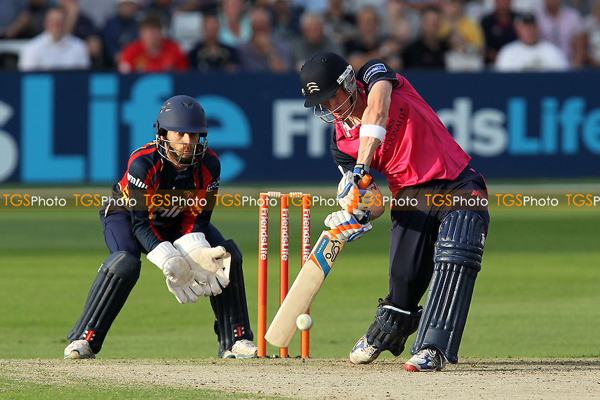 Joe Denly hits four runs for Middlesex as James Foster looks on - Essex Eagles vs Middlesex Panthers - Friends Life T20 Cricket at the Ford County Ground, Chelmsford, Essex - 05/07/12 - MANDATORY CREDIT: Gavin Ellis/TGSPHOTO - Self billing applies where appropriate - 0845 094 6026 - contact@tgsphoto.co.uk - NO UNPAID USE.