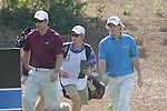 Paul casey and Rory McIlroy walking onto the 4th tee box.on day one of the Dubai World Championship on the Earth Course at the Jumeirah Golf Estate, Dubai..Picture Fran Caffrey/www.golffile.ie.