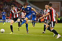 Ben Chilwell of Leicester City has a shot on goal during the Carabao Cup match between Sheffield United and Leicester City at Bramall Lane, Sheffield, England on 22 August 2017. Photo by James Williamson / PRiME Media Images.