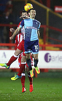 Matthew Bloomfield of Wycombe Wanderers <br /> during the Sky Bet League 2 match between Accrington Stanley and Wycombe Wanderers at the wham stadium, Accrington, England on 28 February 2017. Photo by Tony  KIPAX.