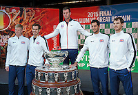 Gent, Belgium, November 26, 2015, Tennis, Davis Cup Final, Belgium-Great Britain, draw ceremonie, team Great Britain around the Davis Cup, Ltr: Kyle Edmund, Andy Murray, Captain Leon Smith, James Ward and Jaimy Murray<br /> Photo: Tennisimages/Henk Koster
