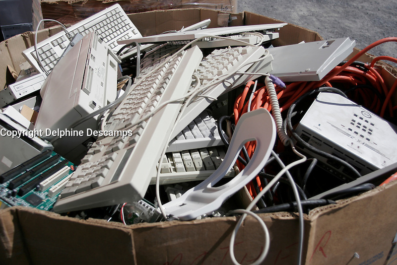 April 2006, Montreal (Qc) CANADA<br /> Old computer parts and other hazardous waste at a mobile recycling center in Montreal, Canada<br /> <br /> Photo : Delphine Descamps (c) 2006 Images Distribution