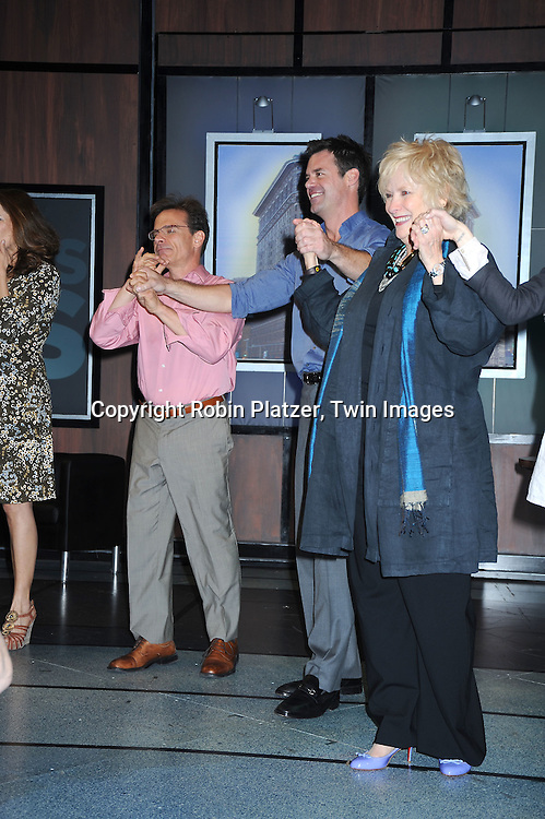 """Peter Scolari,Tuc Watkins and Betty Buckley taking a curtain call at The Opening night of """"White's Lies"""" on May 6, 2010 at New World Stages in New York City. The show stars Betty Buckley, Tuc Watkins, Peter Scolari and Christy Carlson Romano."""