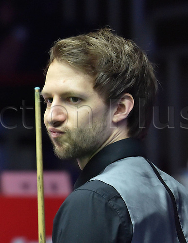 03.04.2016. Beijing, China.  Judd Trump of England reacts during the final of the 2016 World Snooker China Open Tournament against his compatriot Ricky Walden in Beijing,  China, April 3, 2016. Judd Trump won 10-4.