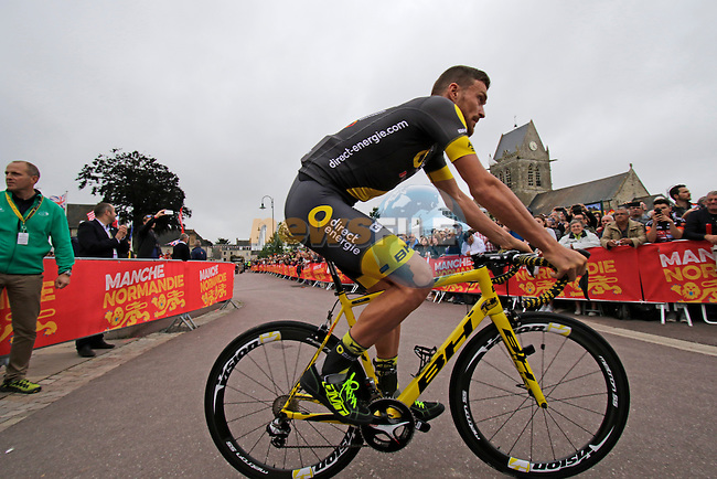 Direct Energie team arrive for the team presentations before the start of the 2016 Tour de France, Sainte-Mere-Eglise, France . 30th June 2016.<br /> Picture: Eoin Clarke | Newsfile<br /> <br /> <br /> All photos usage must carry mandatory copyright credit (&copy; Newsfile | Eoin Clarke)