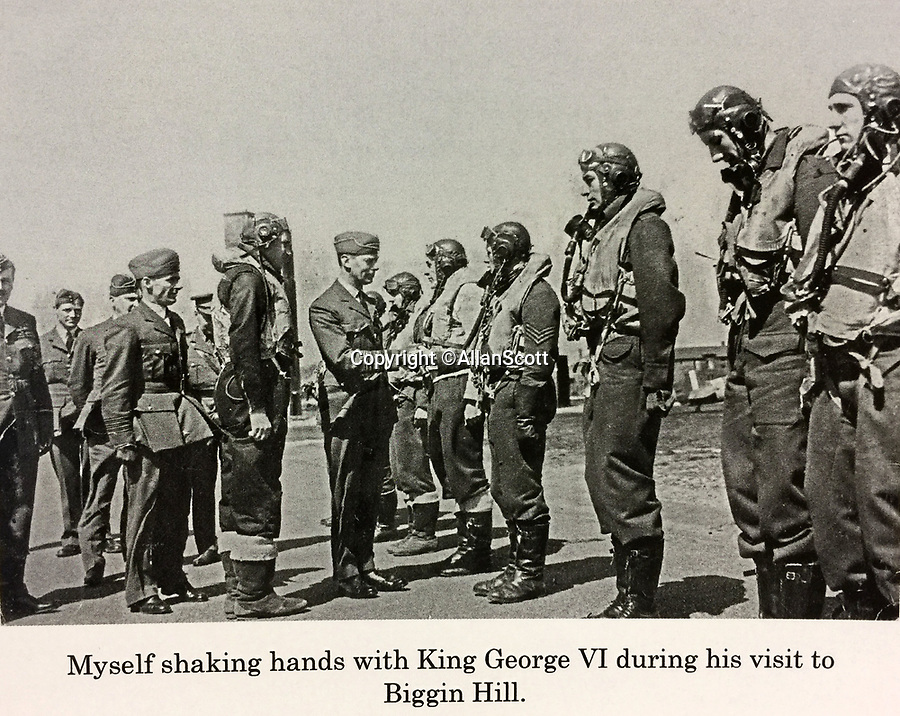 BNPS.co.uk (01202 558833)<br /> Pic: AllanScott/BNPS<br /> <br /> Allan meeting King George V at Biggin Hill.<br /> <br /> As Rememberance Day approches the last surviving Spitfire ace of the almost forgotten Siege of Malta has spoken about the ferocious battle over 'the most bombed place on earth' during WW2 on the 77th anniversary of the Allies' remarkable victory.<br /> <br /> Squadron Leader Allan Scott was awarded a prestigious Distinguished Flying Medal after shooting down five enemy aircraft, and claiming eight other probable kills, while defending the beleaguered British colony.<br /> <br /> Between June 1940 and November 1942, the tiny island was 'the most bombed place on earth'. It was subjected to 3,000 bombing raids, during which the German Luftwaffe and Italian fighters dropped 6,700 tons of bombs on the Grand Harbour area alone to destroy RAF defences and the ports.<br /> <br /> Over the course of the battle, 2,300 Allied airmen were killed or wounded, but their sterling efforts saved the 'flattened' island from defeat.