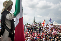 """June 23, 2018: A member of """"Batallon Xochiapulco"""" and supporter of Andres Manuel Lopez Obrador, an opposition candidate of MORENA party running for presidency (not-pictured), attends his campaign rally at Xanenetla park in Puebla City, Mexico. National elections will be hold on July 1."""