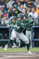 Michigan State Spartans outfielder Bryce Kelley (17) at bat against the Michigan Wolverines on May 19, 2017 at Ray Fisher Stadium in Ann Arbor, Michigan. Michigan defeated Michigan State 11-6. (Andrew Woolley/Four Seam Images)