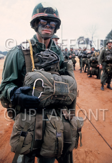 Fort Bragg, North Carolina - January 1980. Photograph taken of members American Paratroopers of the 82nd Airborne Division carrying out training maneuvers at Fort Bragg. The 82nd Airborne Division, founded in 1917, is an active duty airborne division of the United States Army, and specializes in parachute assault operations.