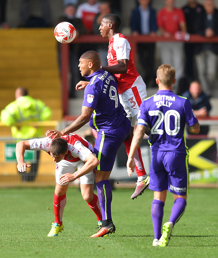 Fleetwood Town's Amari'i Bell gets to the ball first<br /> <br /> Photographer Dave Howarth/CameraSport<br /> <br /> The EFL Sky Bet League One - Fleetwood Town v Charlton Athletic - Saturday 10th September 2016 - Highbury stadium - Fleetwood<br /> <br /> World Copyright &copy; 2016 CameraSport. All rights reserved. 43 Linden Ave. Countesthorpe. Leicester. England. LE8 5PG - Tel: +44 (0) 116 277 4147 - admin@camerasport.com - www.camerasport.com
