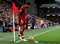 Liverpool's Trent Alexander-Arnold sets up the corner kick from which Divock Origi scored the winning goal<br /> <br /> Photographer Rich Linley/CameraSport<br /> <br /> UEFA Champions League Semi-Final 2nd Leg - Liverpool v Barcelona - Tuesday May 7th 2019 - Anfield - Liverpool<br />  <br /> World Copyright © 2018 CameraSport. All rights reserved. 43 Linden Ave. Countesthorpe. Leicester. England. LE8 5PG - Tel: +44 (0) 116 277 4147 - admin@camerasport.com - www.camerasport.com