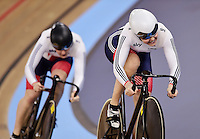 Picture by Alex Broadway/SWpix.com - 02/03/2016 - Cycling - 2016 UCI Track Cycling World Championships, Day 1 - Lee Valley VeloPark, London, England - Jessica Varnish and Katy Marchant of Great Britain compete in the Women's Team Sprint Qualifying.