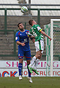 Jon Ashton of Stevenage and Jonathan Franks of Yeovil header. - Yeovil Town v Stevenage - npower League 1 - Huish Park, Yeovil - 14th April, 2012 . © Kevin Coleman 2012..