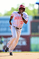 Hagerstown Suns outfielder Isaac Ballou (23) runs the bases during a game against the Lexington Legends on May 19, 2014 at Whitaker Bank Ballpark in Lexington, Kentucky.  Lexington defeated Hagerstown 10-8.  (Mike Janes/Four Seam Images)