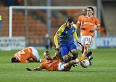 18/12/18 The Emirates FA Cup, 2nd Round Replay Blackpool v Solihull Moor<br /> <br /> Jay Spearing tackles Jamey Osbourne