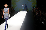 """October 18, 2012, Tokyo, Japan - A model walks down the catwalk wearing """"SOMARTA"""" during the Mercedes-Benz Fashion Week Tokyo 2013 Spring/Summer. Fashion week in Tokyo runs from October 13-20. (Photo by Christopher Jue/Nippon News)"""