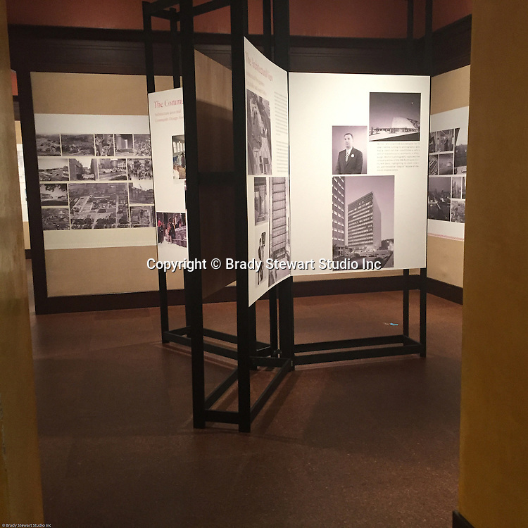 Pittsburgh PA:  Pittsburgh PA:  View of the architectural and Community view areas of the Imaging for Modern exhibition inside the Carnegie Museum of Art - 2015.  Photographs from the Brady Stewart Archives were used in the exhibition about Pittsburgh's architectural evolution 1945-1970.<br /> The images were selected by the consultant's Over Under due to the quality and the unique city views.  From 1945 to 1970 Brady Stewart Studio was the largest commercial photography studio in western Pennsylvania.<br /> The Exhibition runs from September 1915 thru May 2016.  Press release can be found at the following internet address; http://press.cmoa.org/2015/05/27/hac-lab-pittsburgh/.<br /> There are 4 rooms and a long corridor filled with photos, maps, an audio visual presentation, architectural models and advertisements.