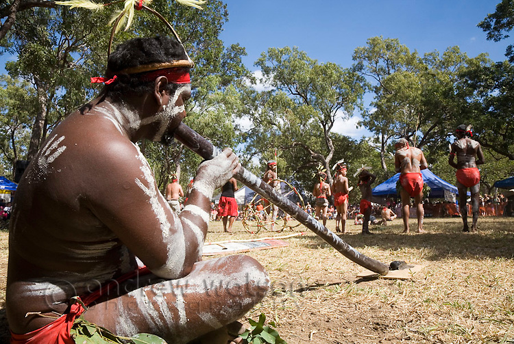 Indigenous performer playing the didgeridoo at the Laura Aboriginal Dance Festival.  Laura, Queensland, Australia