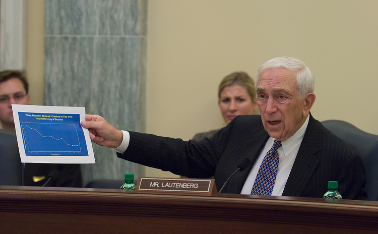 Frank Lautenberg, D-NJ.,during the Surface Transportation and Merchant Marine Infrastructure, Safety and Security Subcommittee hearing on the Federal Motor Carrier Safety Administration, focusing on truck driver hours-of-service and rules and truck safety.
