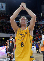 Herbalife Gran Canaria's Brad Newley celebrates the victory after Spanish Basketball King's Cup match.February 07,2013. (ALTERPHOTOS/Acero)