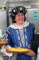 Castelfranco Emilia, Festa di San Nicola - Sagra del Tortellino (Tortellini Festival).<br /> Monica Larner, Dama 2011 (r.), tasting fresh tortellini.