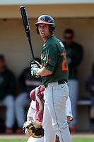 University of Miami Hurricanes infielder Grant Heyman #27 during a game versus the Boston College Eagles at Shea Field in Chestnut Hill, Massachusetts on April 26, 2013.  (Ken Babbitt/Four Seam Images)