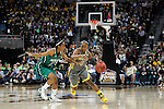 03 APR 2012:  Odyssey Sims (0) of Baylor University dribbles past Fraderica Miller (12) of the University of Notre Dame during the Division I Women's Basketball Championship held at the Pepsi Center in Denver, CO.  Jamie Schwaberow/NCAA Photos