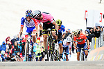 Race leader Simon Yates (GBR) Mitchelton-Scott Maglia Rosa wins Stage 9 of the 2018 Giro d'Italia, running 225km from Pesco Sannita to Gran Sasso d'Italia (Campo Imperatore), this year's Montagna Pantani, Italy. 13th May 2018.<br /> Picture: LaPresse/Gian Mattia D'Alberto | Cyclefile<br /> <br /> <br /> All photos usage must carry mandatory copyright credit (&copy; Cyclefile | LaPresse/Gian Mattia D'Alberto)