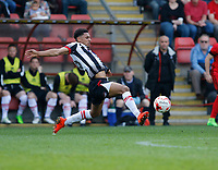 Grimsby Town's Brandon Comley contests the loose ball during the Sky Bet League 2 match between Leyton Orient and Grimsby Town at the Matchroom Stadium, London, England on 11 March 2017. Photo by Carlton Myrie / PRiME Media Images.
