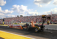 Aug 15, 2014; Brainerd, MN, USA; NHRA top fuel dragster driver Luigi Novelli during qualifying for the Lucas Oil Nationals at Brainerd International Raceway. Mandatory Credit: Mark J. Rebilas-