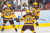 Michael Brodzinski (MN - 20), Ben Marshall (MN - 10) and Justin Kloos (MN - 25) celebrate Kloos' goal. - The Union College Dutchmen defeated the University of Minnesota Golden Gophers 7-4 to win the 2014 NCAA D1 men's national championship on Saturday, April 12, 2014, at the Wells Fargo Center in Philadelphia, Pennsylvania.