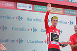 Simon Yates (GBR) Mitchelton-Scott retains the race leaders Red Jersey at the end of  Stage 10 of the La Vuelta 2018, running 177km from Salamanca to Fermoselle. Bermillo de Sayago, Spain. 4th September 2018.<br /> Picture: Unipublic/Photogomezsport | Cyclefile<br /> <br /> <br /> All photos usage must carry mandatory copyright credit (&copy; Cyclefile | Unipublic/Photogomezsport)