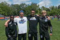 Ladue's Benjamin Avigad, Devin Callahan, Alexander Cobin, and Markeith Crawford won the 4x800 at the MSHSAA Class 4 District 3 Track and Field Meet at Ladue High School.