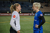 Seattle, WA - April 15th, 2017: Christie Pearce, Megan Rapinoe chat following a regular season National Women's Soccer League (NWSL) match between the Seattle Reign FC and Sky Blue FC at Memorial Stadium.