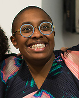 """NEW YORK, NY - MARCH 31: Jazz's singer Cécile McLorin Salvant during her expo """"The Adventures of the invisible Woman"""" at RAW space on March 31, 2017 in Harlem, New York. Photo by VIEWpress/Eduardo MunozAlvarez"""