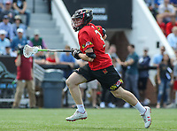 Baltimore, MD - April 28, 2018: Maryland Terrapins Justin Shockey (3) runs with the ball during game between John Hopkins and Maryland at  Homewood Field in Baltimore, MD.  (Photo by Elliott Brown/Media Images International)